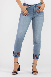 Tribal  Embroidered Cuff Skinny Jean - Product Mini Image