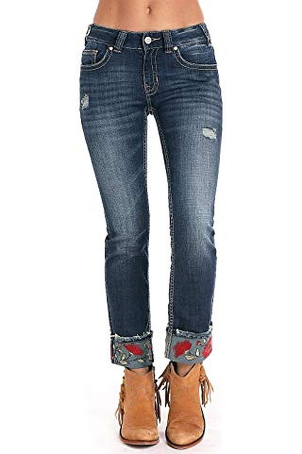 Rock N Roll  Embroidered Cuffed Jean - Front Full Image