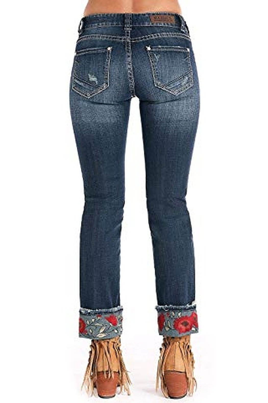 Rock N Roll  Embroidered Cuffed Jean - Side Cropped Image