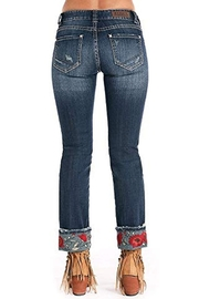 Rock N Roll  Embroidered Cuffed Jean - Side cropped