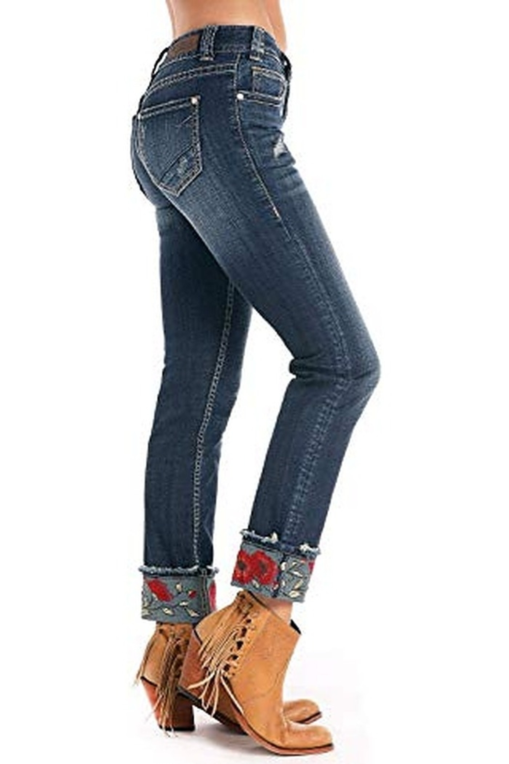 Rock N Roll  Embroidered Cuffed Jean - Main Image
