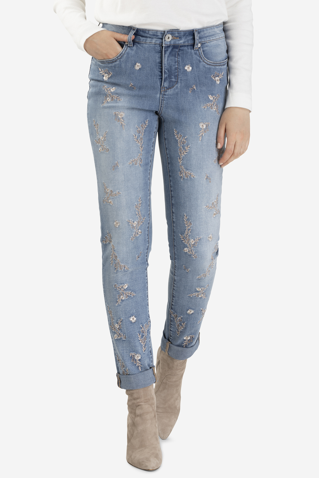 Tribal Jeans Embroidered Cuffed Jean - Front Cropped Image