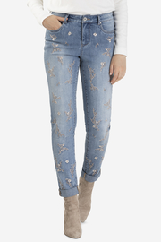 Tribal Jeans Embroidered Cuffed Jean - Front cropped