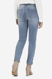 Tribal Jeans Embroidered Cuffed Jean - Front full body