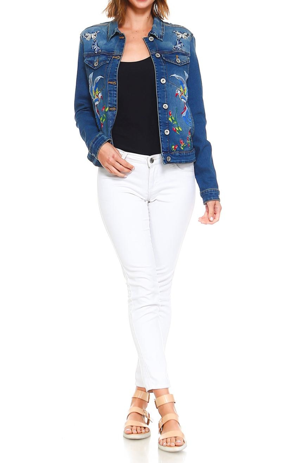 Baccini Embroidered Denim Jacket - Side Cropped Image