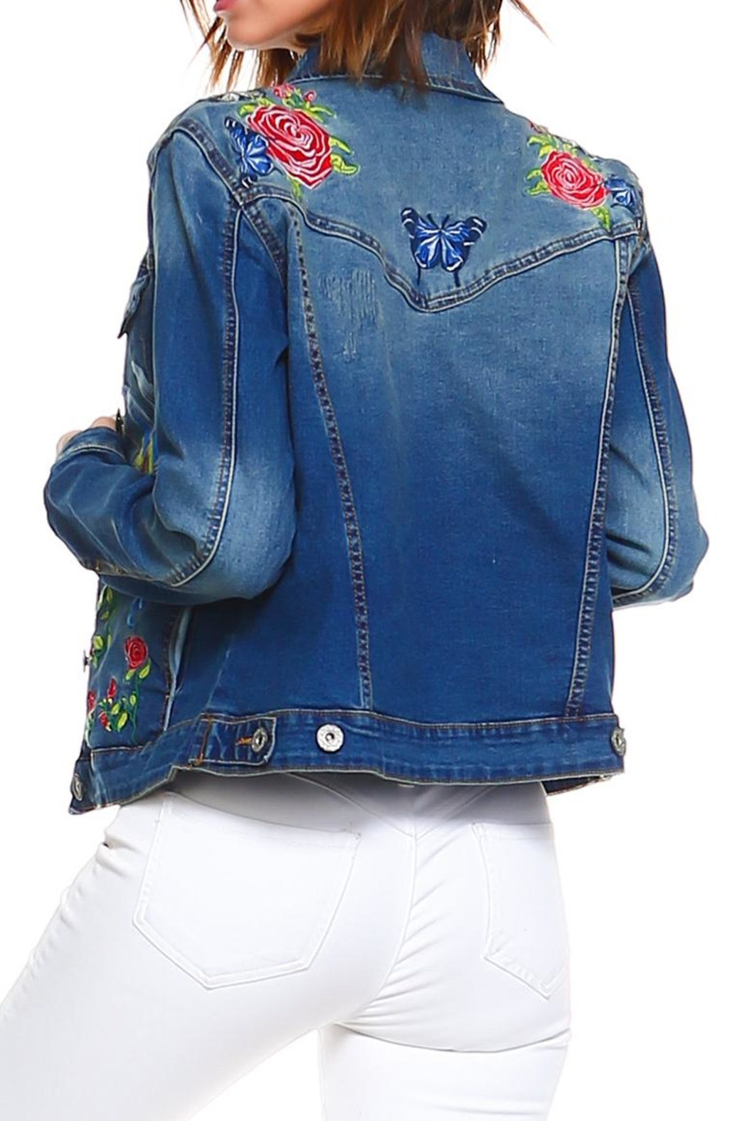 Baccini Embroidered Denim Jacket - Back Cropped Image