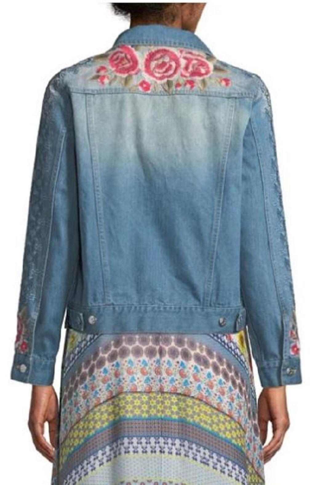 Johnny Was Embroidered Denim Jacket - Front Full Image
