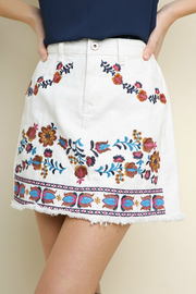 Umgee  Embroidered denim mini skirt - Front cropped