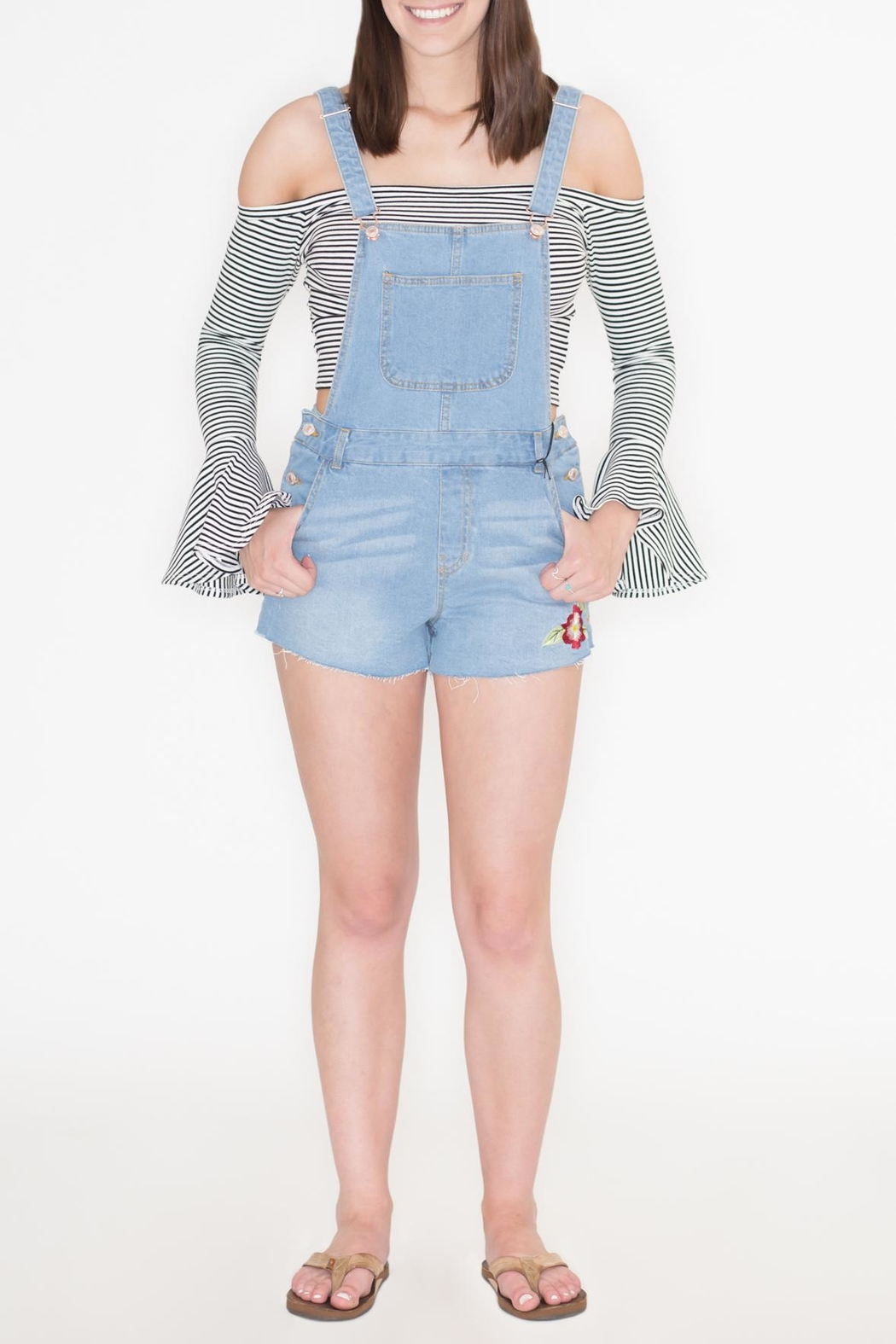 Love Tree Embroidered Denim Romper - Back Cropped Image