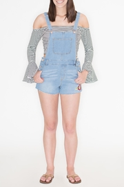 Love Tree Embroidered Denim Romper - Back cropped