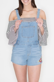 Love Tree Embroidered Denim Romper - Front cropped