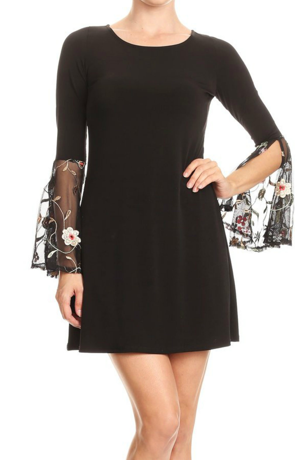 Ariella Embroidered Detail Bell Slv Dress - Main Image