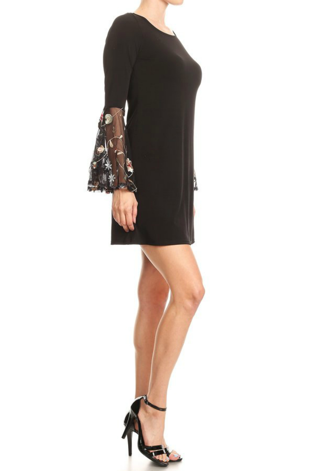 Ariella Embroidered Detail Bell Slv Dress - Front Full Image