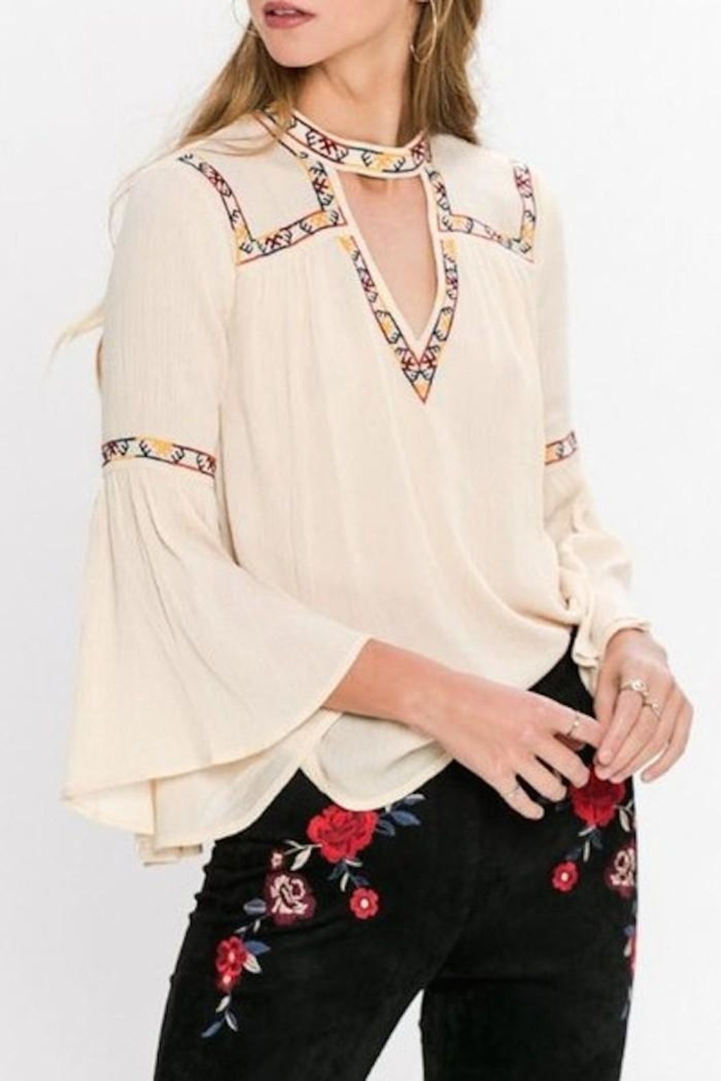 Jealous Tomato Embroidered Detail Blouse - Main Image