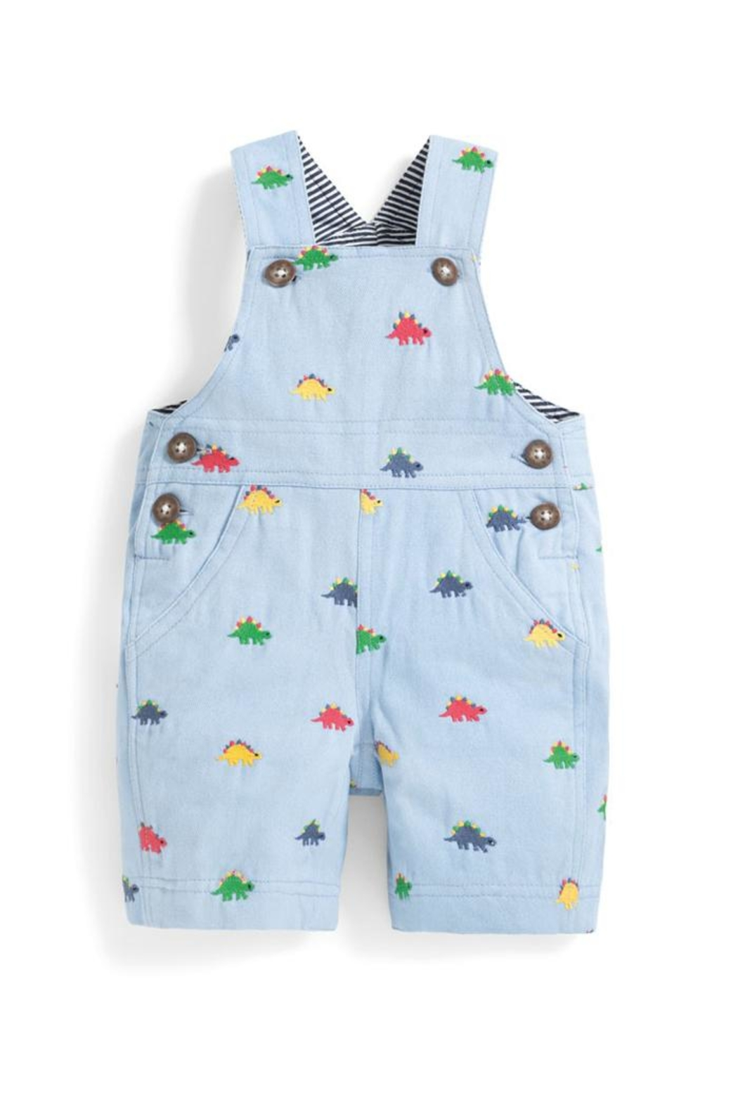 JoJo Maman Bebe Embroidered Dinosaur Overalls - Front Cropped Image