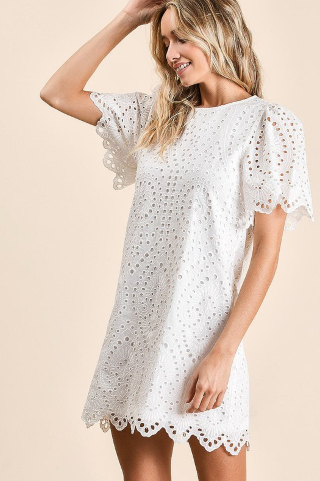 Olivaceous  Embroidered Eyelet Dress - Side Cropped Image