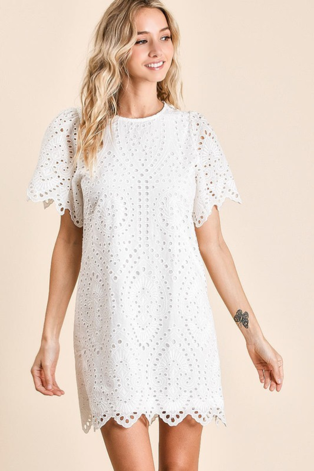Olivaceous  Embroidered Eyelet Dress - Main Image