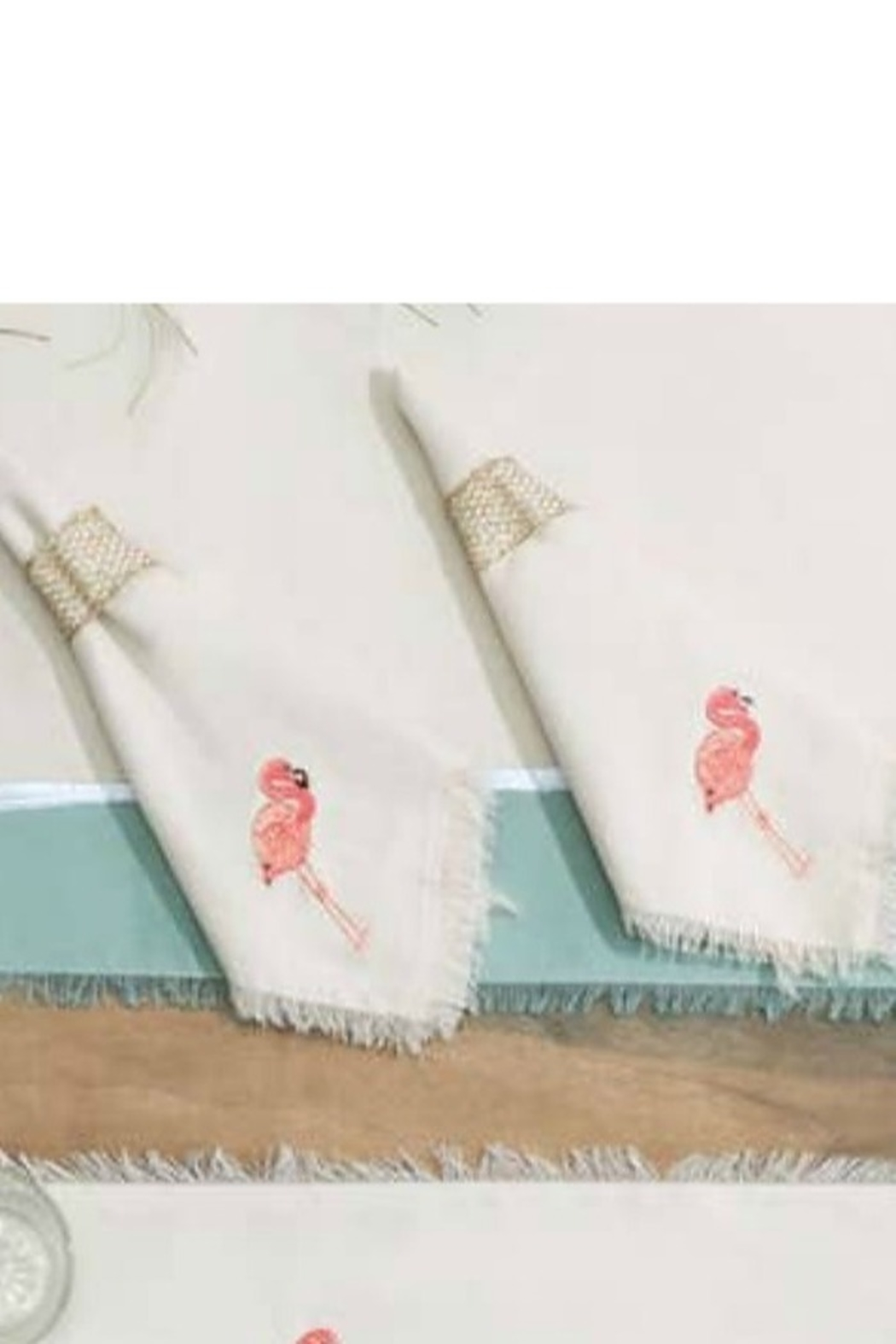 RIGHT SIDE DESIGN Embroidered Flamingo Cotton Napkins S/4 - Main Image