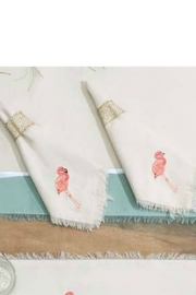 RIGHT SIDE DESIGN Embroidered Flamingo Cotton Napkins S/4 - Front cropped