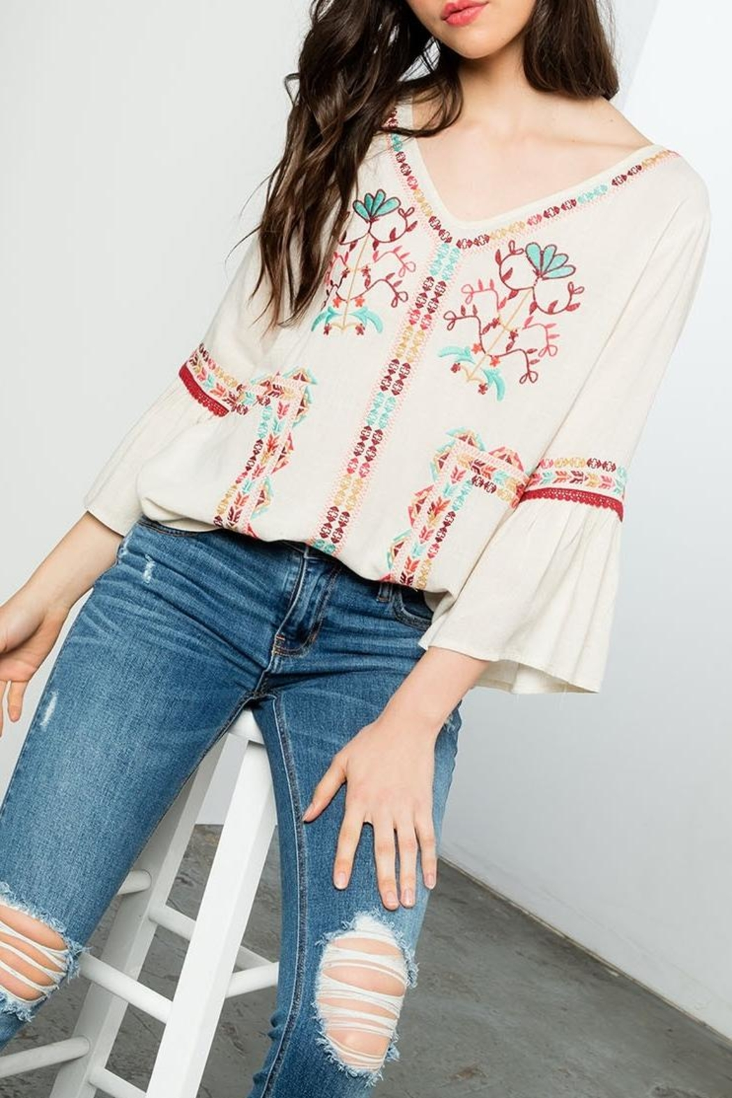 THML Clothing Embroidered Flare Top - Back Cropped Image