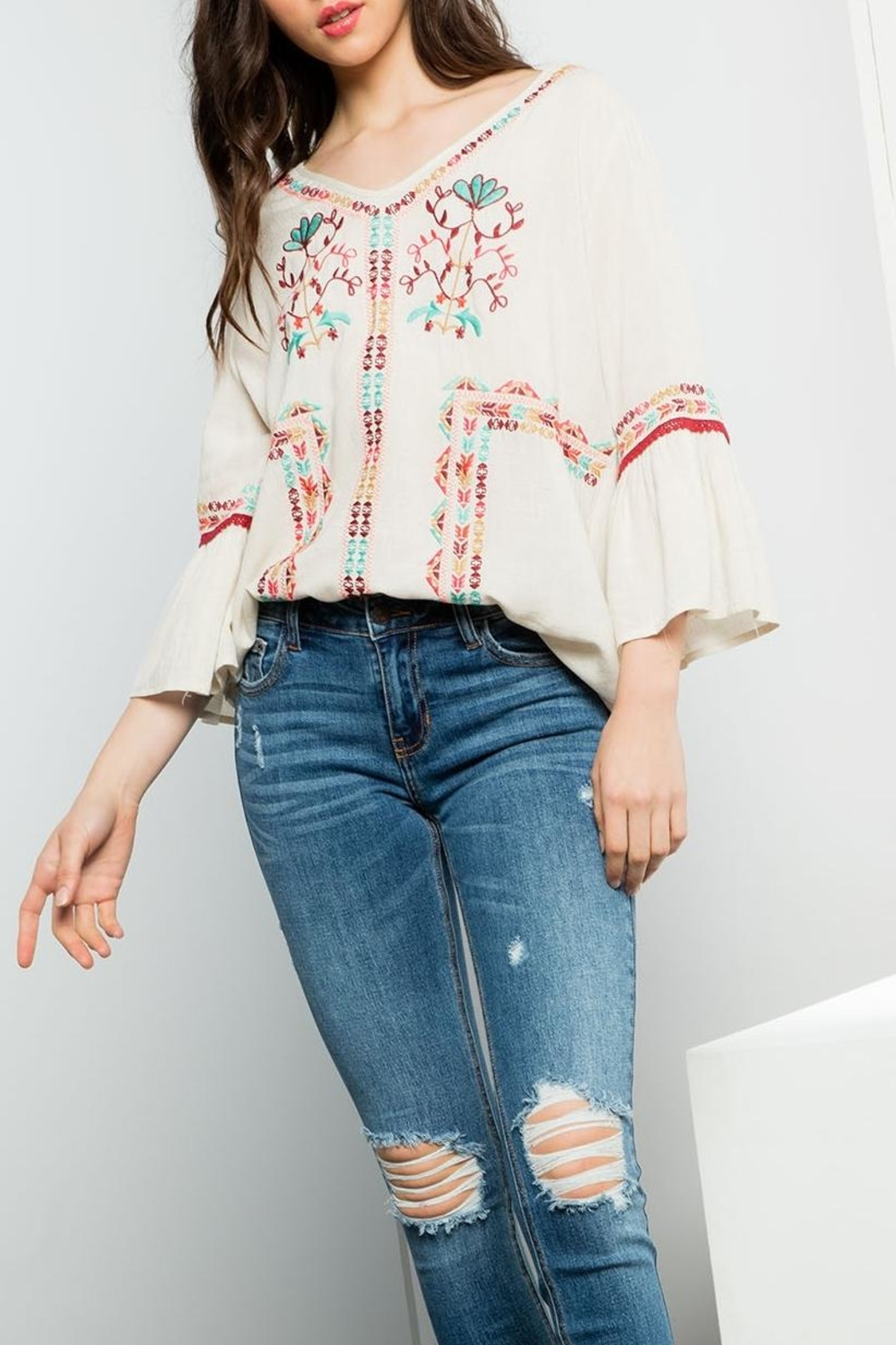 THML Clothing Embroidered Flare Top - Main Image