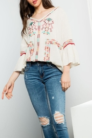 THML Clothing Embroidered Flare Top - Front cropped