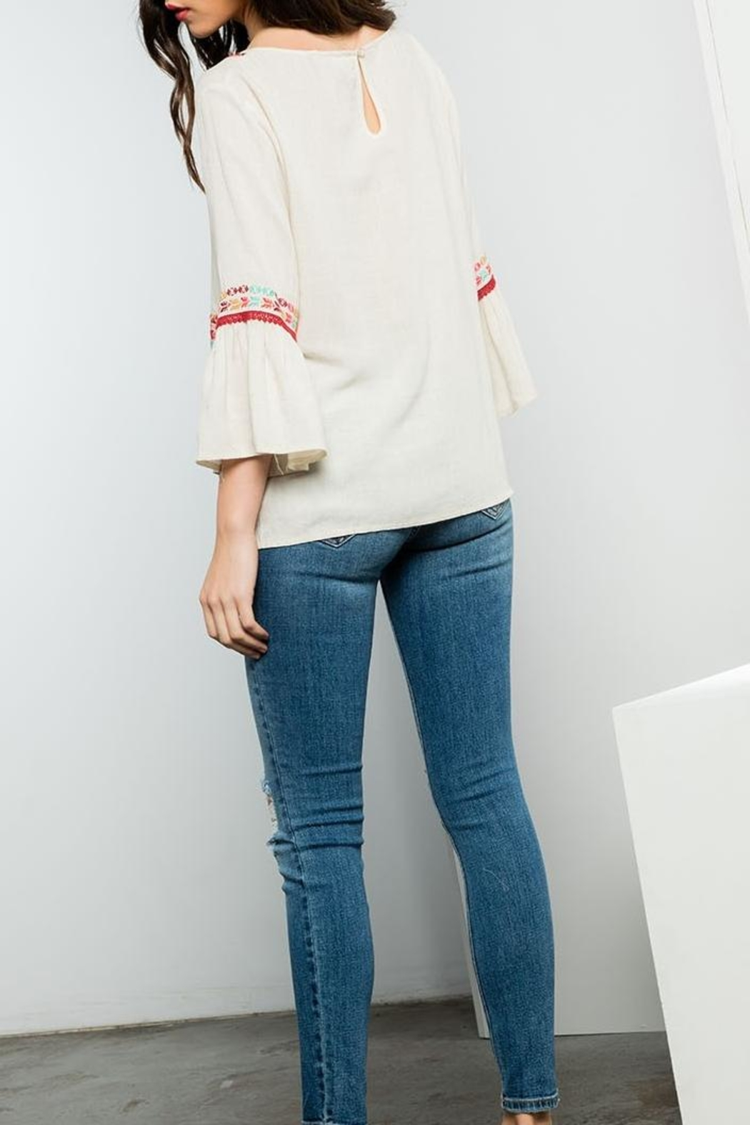 THML Clothing Embroidered Flare Top - Front Full Image