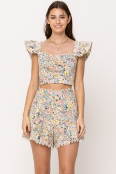 Just Me Embroidered Floral Crop Top - Product List Image