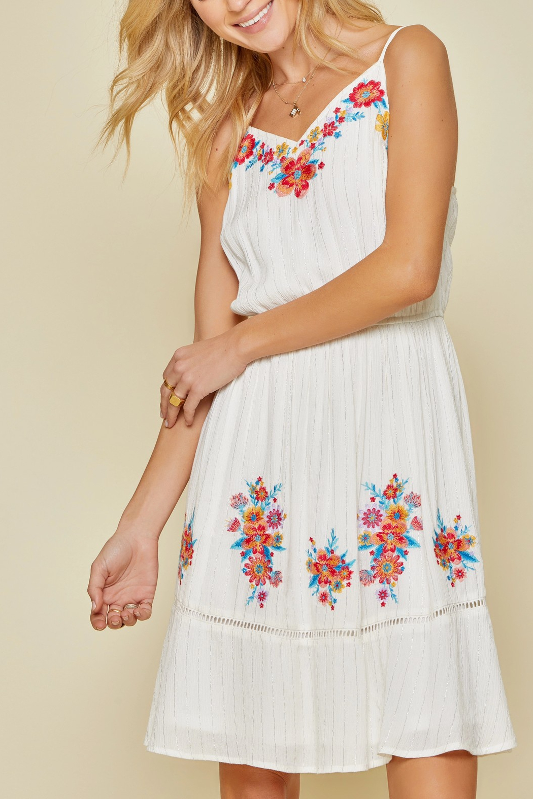 Savannah Jane Embroidered Floral Mini Dress - Side Cropped Image