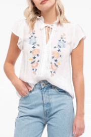 blu Pepper  Embroidered Floral Top - Front cropped