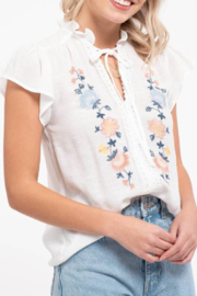blu Pepper  Embroidered Floral Top - Front full body