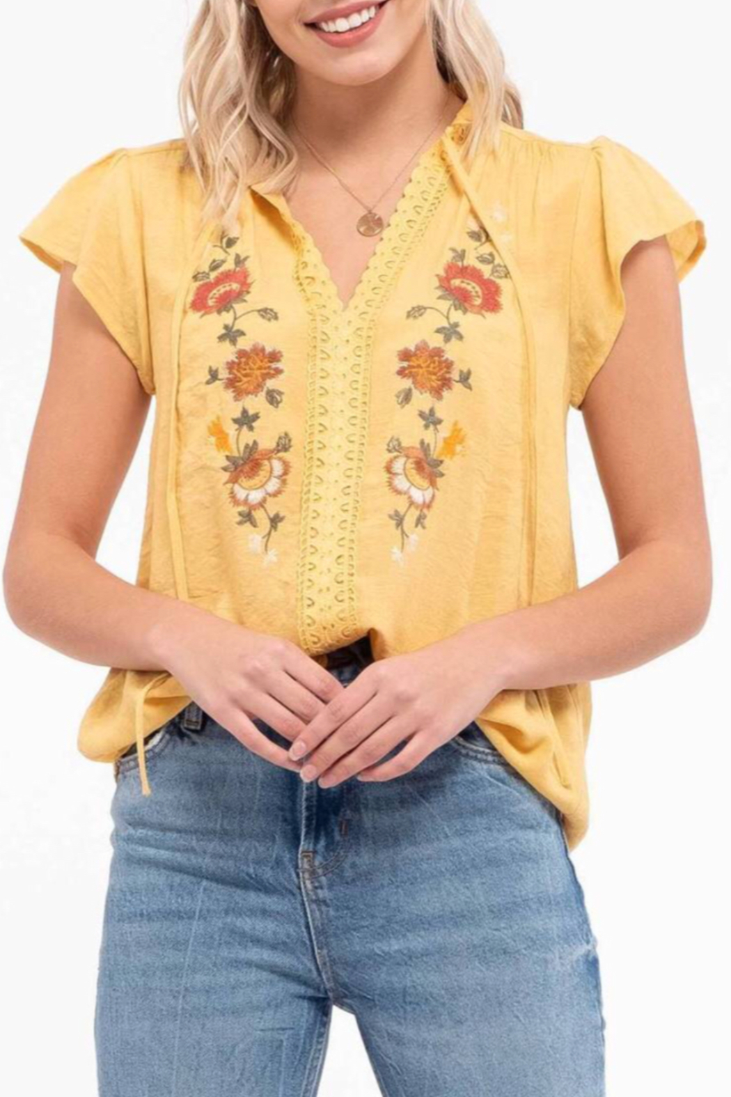 blu Pepper  Embroidered Floral Top - Main Image