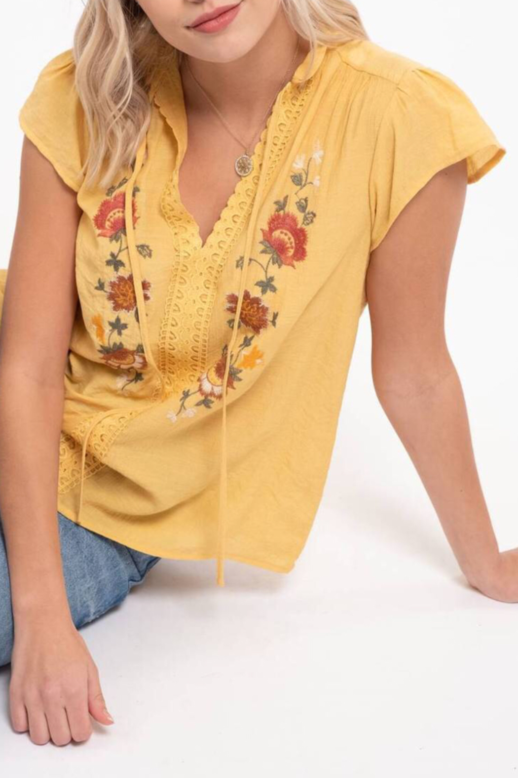blu Pepper  Embroidered Floral Top - Front Full Image