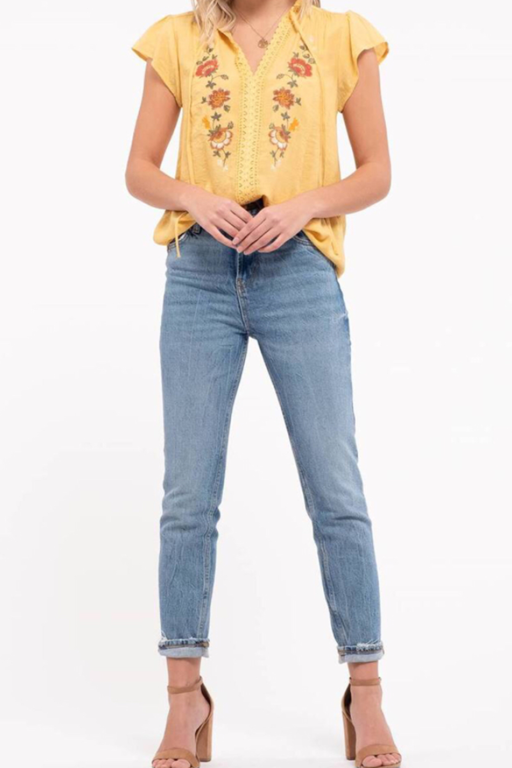 blu Pepper  Embroidered Floral Top - Back Cropped Image