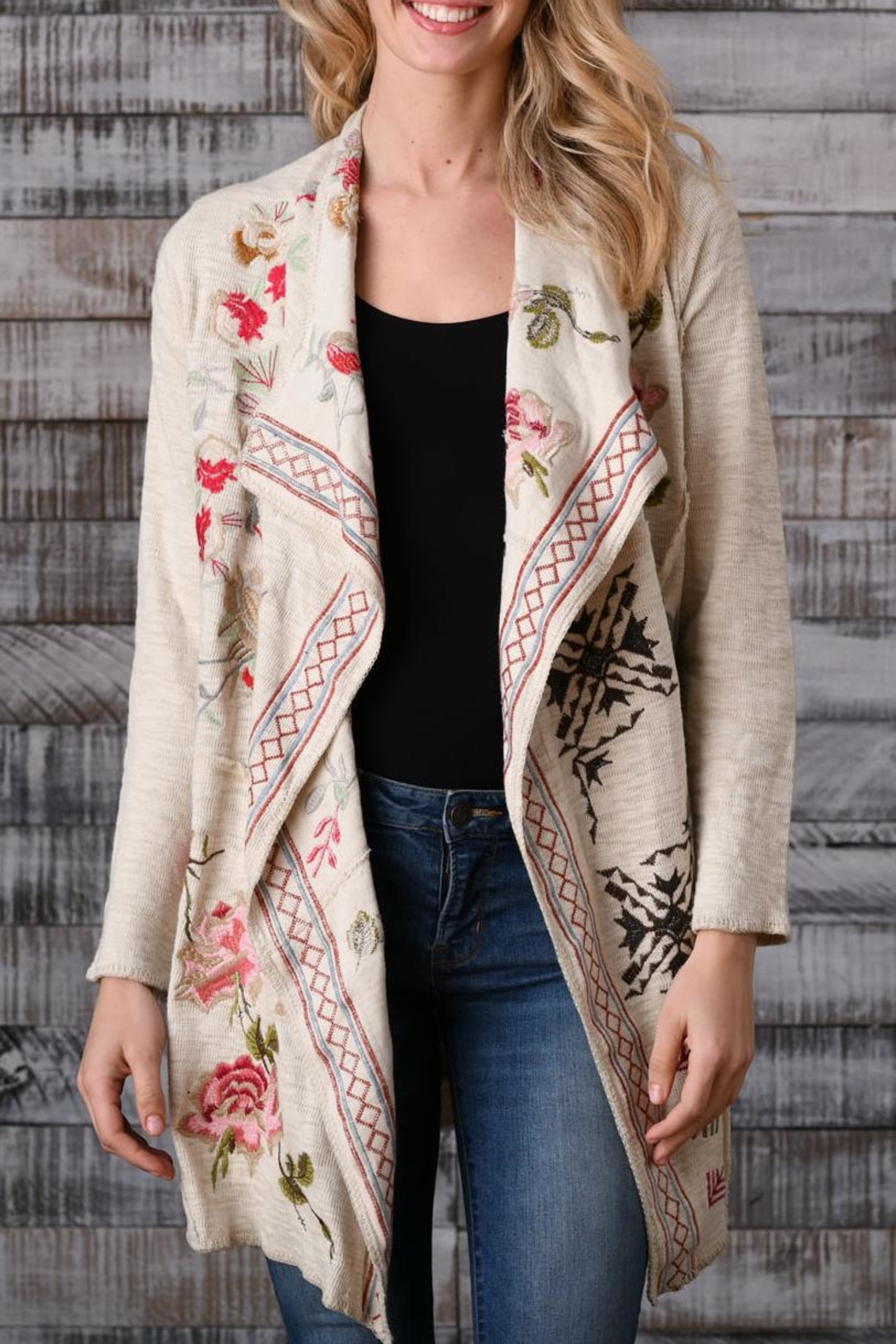 Paparazzi Embroidered Flouncy Cardigan - Main Image