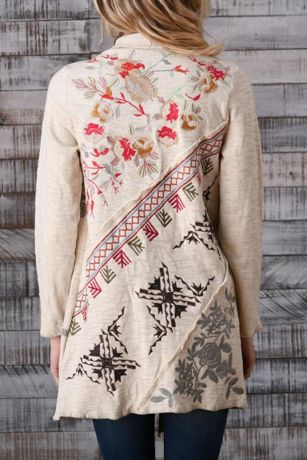 Paparazzi Embroidered Flouncy Cardigan - Front Full Image