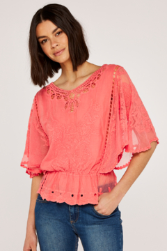 Apricot Embroidered Flowers & Mesh Batwing Top - Product List Image