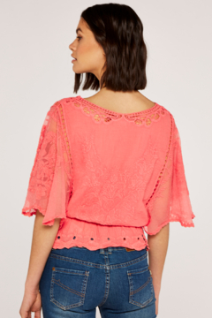 Apricot Embroidered Flowers & Mesh Batwing Top - Alternate List Image