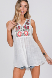 Fashion District Embroidered Flowy Top - Product Mini Image
