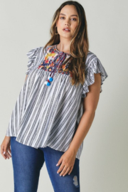 DAVI AND DANI Embroidered Flutter Sleeve Top - Product Mini Image