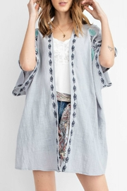 easel Embroidered Gauze Kimono - Front full body