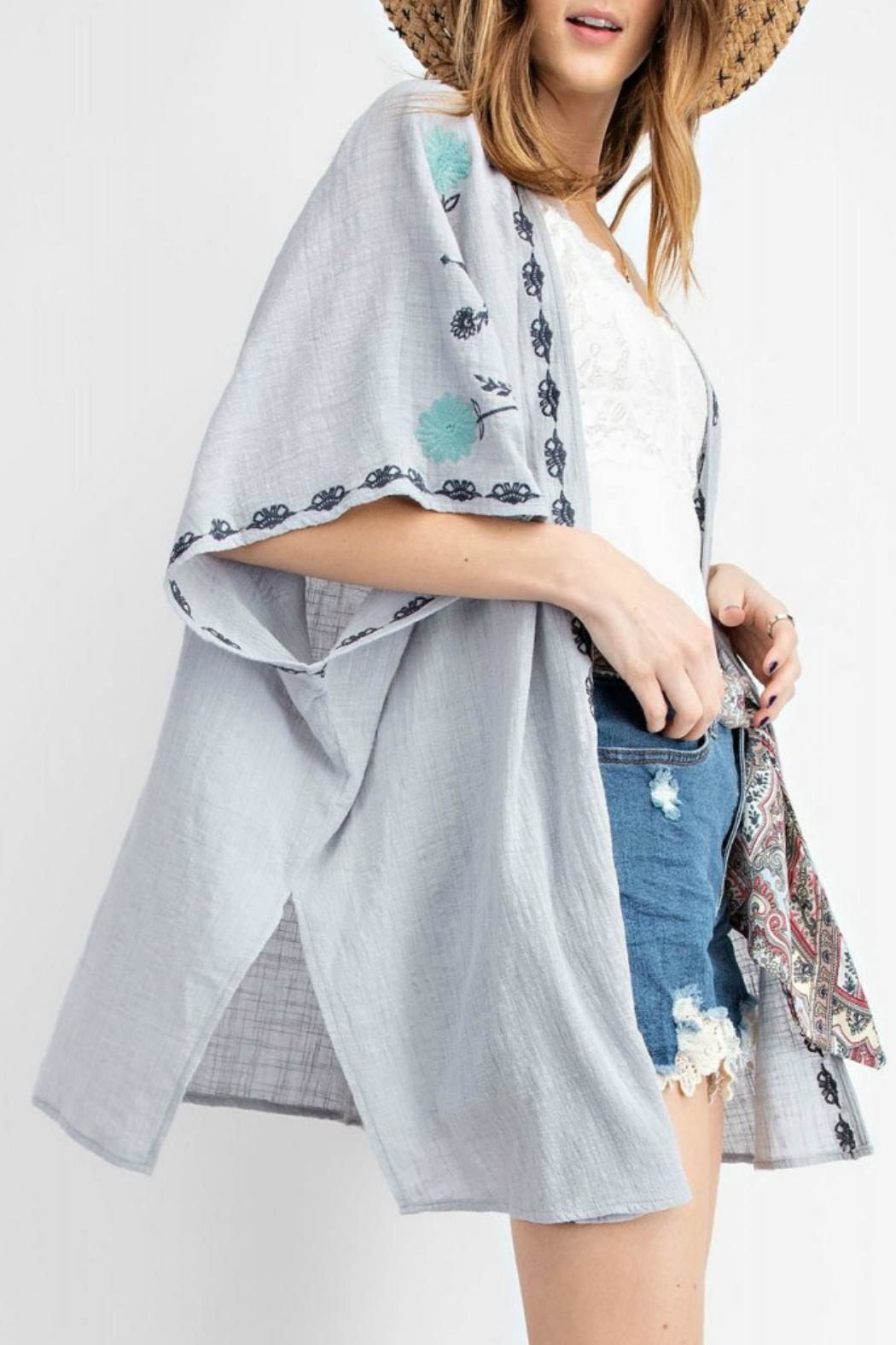 easel Embroidered Gauze Kimono - Side Cropped Image