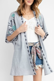 easel Embroidered Gauze Kimono - Product Mini Image