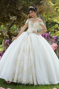 Morilee Embroidered Glitter Organza Gown - Product List Image