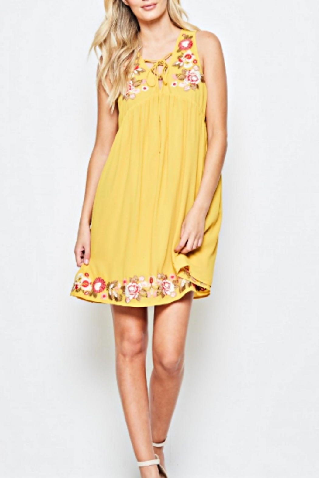 Andree by Unit Embroidered Golden Sundress - Front Full Image