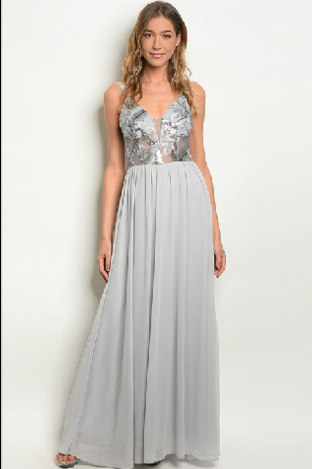 Soieblu Embroidered Grey Gown - Main Image