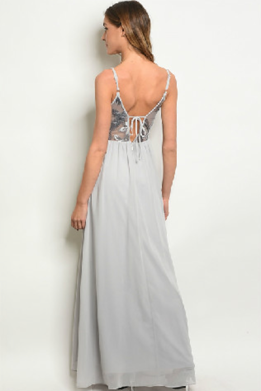 Soieblu Embroidered Grey Gown - Front Full Image
