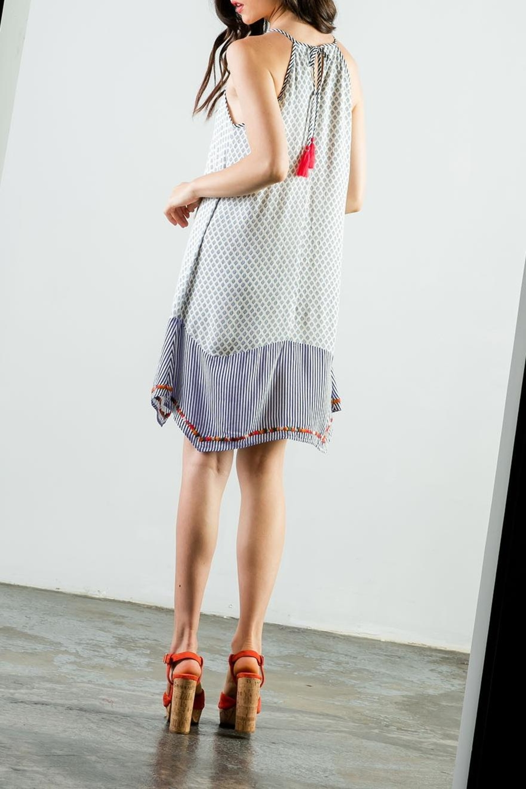 THML Clothing Embroidered Halter Dress - Back Cropped Image