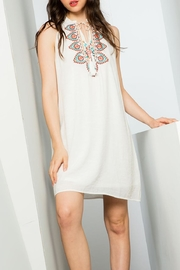 THML Clothing Embroidered Halter Dress - Front cropped