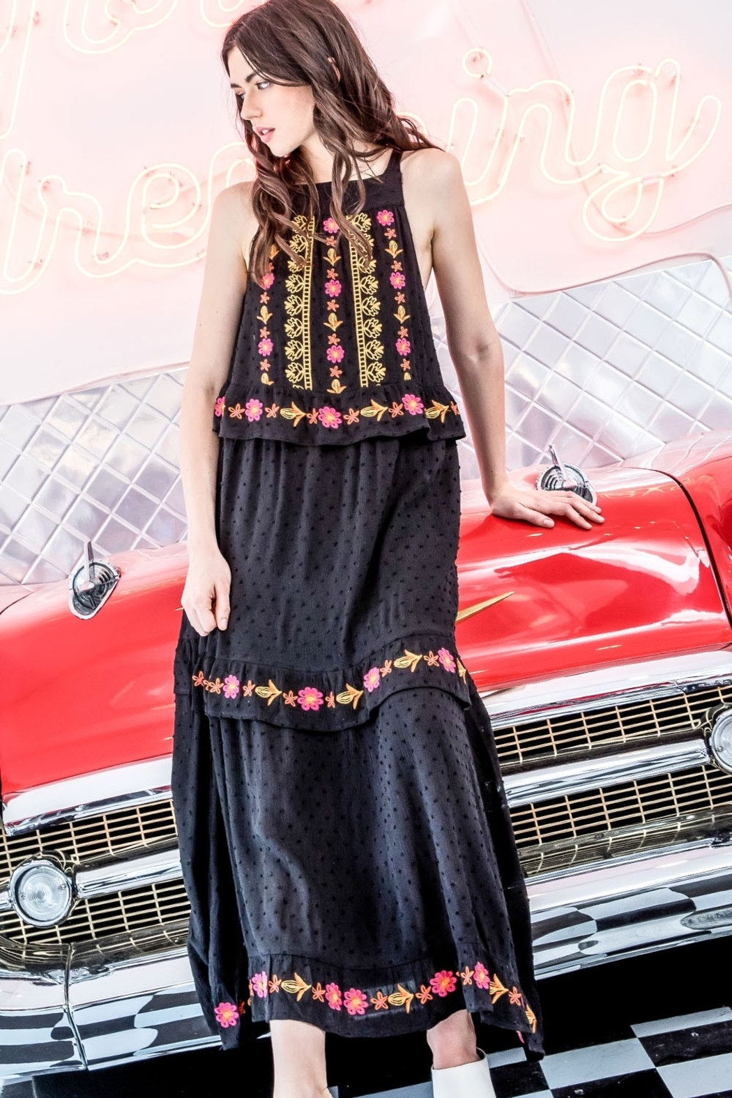 Thml Embroidered Halter Maxi Dress - Front Cropped Image